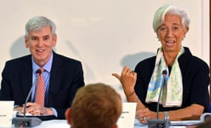 IMF MD Christine Lagarde (right), with UK Mission Chief for the IMF, Philip Gerson, this morning
