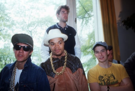 A 1986 press conference en route to London from Montreux, Switzerland. left to right: Mike D, DJ Hurricane, MCA and Ad-Rock.