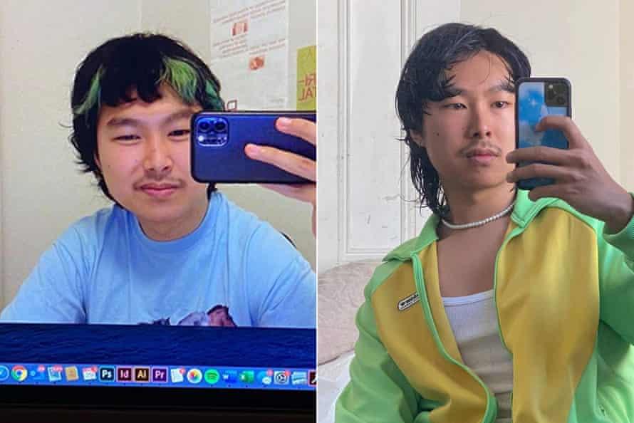 Left: Michael Sun with green streaks in 2020; right: a 'moppy' cut in 2021.