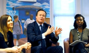 David Cameron with social workers in Twickenham