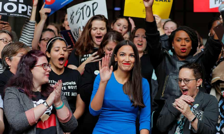 Democratic Congressional candidate Ocasio-Cortez speaks at a really against Supreme Court nominee Brett Kavanaugh in Boston