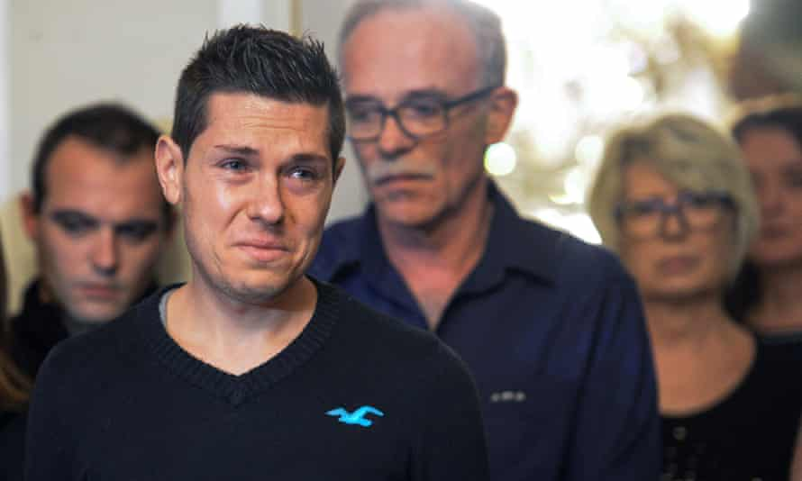 Jonathann Daval in 2017, appearing in tears at a press conference after his wife's death.