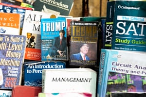 Second-hand books about Trump sold by roadside vendor on Lagos Island