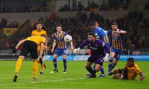 Matt Doherty scores against Shrewsbury in their fourth-round replay