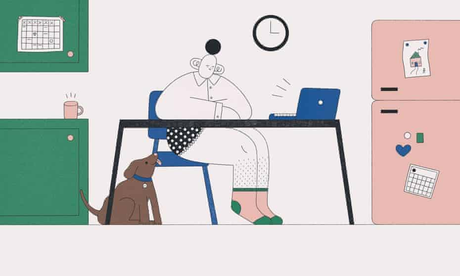 Illustration of woman working from home, sitting at her desk with a laptop