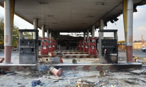 A fuel station near Tehran that was burnt out during the protests