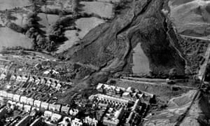 The burial of Aberfan under a colliery tip in October 1966.