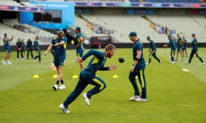 Australia training at Edgbaston – part of their session involved walking barefoot to capture 'positive energy coming out of the earth'.