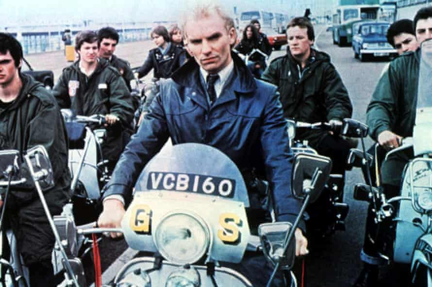 Sting with scooterists at Brighton seafront.