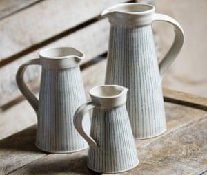 Three ceramic jugs in different sizes