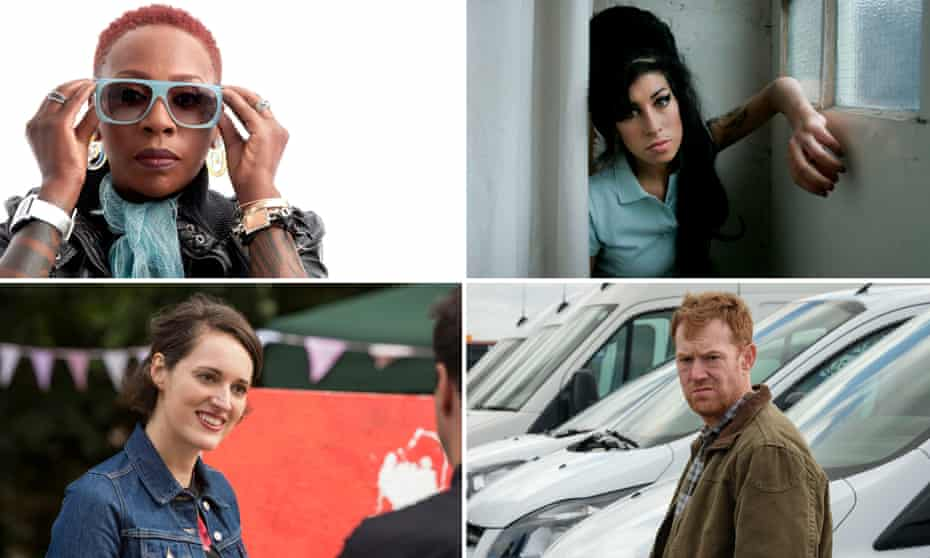 Best of the Brits … clockwise from top left, Gina Yashere, Amy Winehouse, Kris Hitchen in Sorry We Missed You and Phoebe Waller-Bridge in Fleabag.