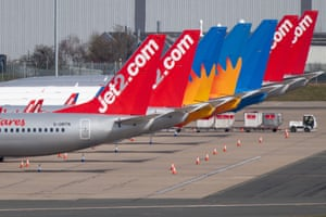 Grounded jet2 planes at Birmingham International Airport.