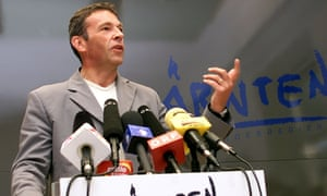 The late far-right politician Jörg Haider speaking in Austria in 2000