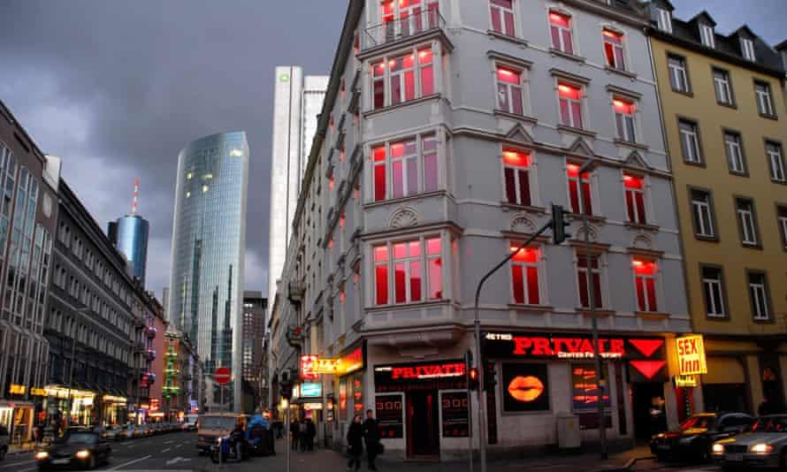Sex shops and restaurants in Frankfurt's Bahnhofsviertel.