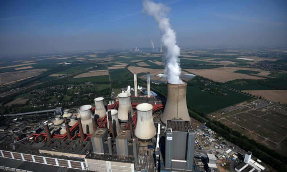 The coal-fired power station of German energy giant RWE at Niederaussem, western Germany.