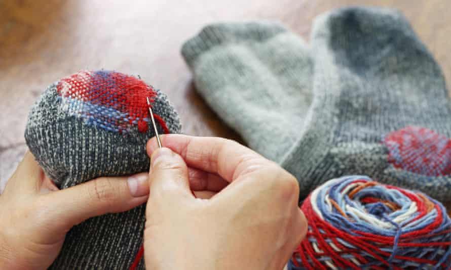 Socks being repaired