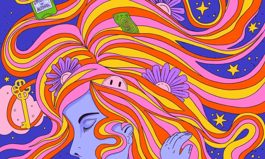 Illustration of woman on psychedelic trip