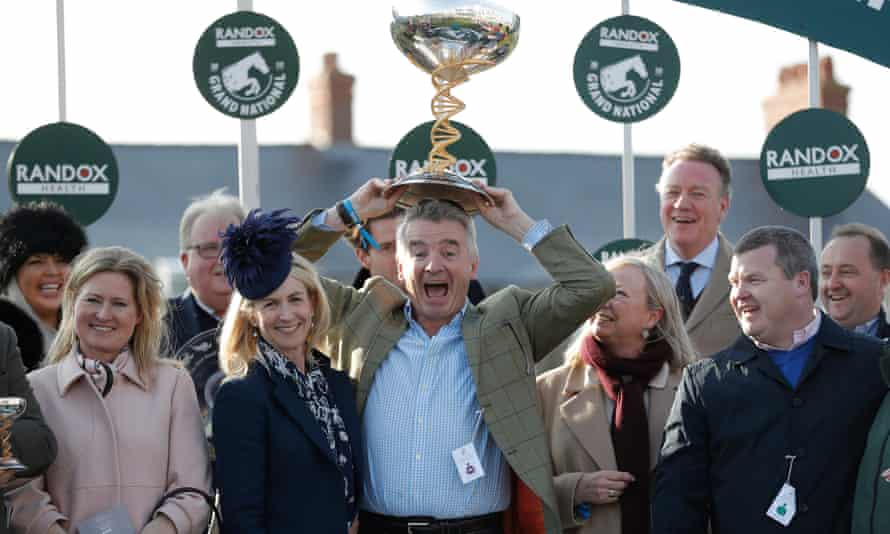 Michael O'Leary celebrating after winning a famous Grand National victory with Tiger Roll in April.