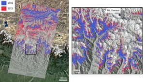 This image shows the extent of vegetation in 1993 (blue) vs. 2017 (red), derived from satellite data from the Landsat sensor, in the region around Mount Everest. Only vegetation above 4150 m, excluding north-facing slopes, is shown. The changing extent of vegetated pixels in the immediate Everest region are shown in the zoomed area to the right, with Everest highlighted.