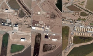 The Tornillo detention camp near El Paso, Texas at different points during 2018. Left to right: Satellite image from January 2018 shows no camp; satellite image from June 2018 shows tents starting to appear; aerial shot taken last Sunday shows more than five times the number of tents.