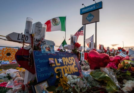 The makeshift memorial for victims of the shooting at the Cielo Vista Mall WalMart in El Paso, Texas, on August 6, 2019.