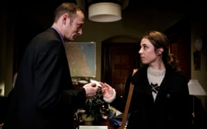 'In Denmark, we go out and have beers after' … Mikkelsen with Sofie Gråbøl in The Killing.