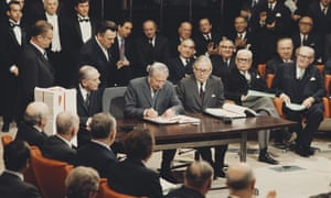 Edward Heath signs the accession treaty for Britain to join the European Economic Community or Common Market at the Egmont Palace in Brussels, Belgium on 22 January 1972.