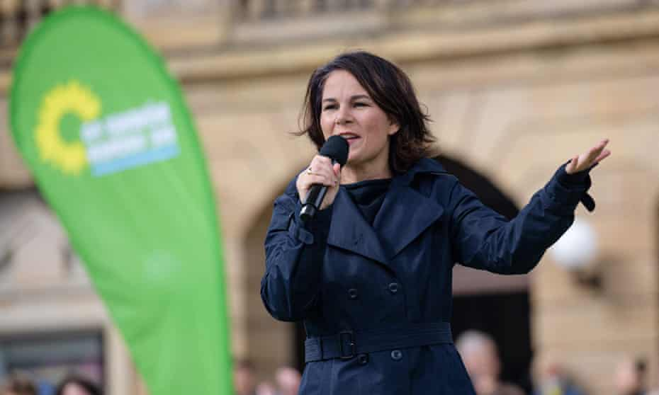 The Greens' candidate for chancellor, Annalena Baerbock, speaking in Chemnitz, eastern Germany, on Friday.