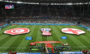 Tunisia and England flags before the match in Volgograd displaying the Islamic crescent and the Christian cross.