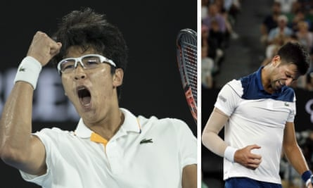 South Korea's Chung Hyeon (left) celebrates during his match against Novak Djokovic, who often looked frustrated during the match.