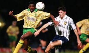 Efan Ekoku, left, in action for Norwich City during the 1993-1994 season. According to one Norwich fan who contacted the Quickly Kevin, Will He Score? podcast, the one-time striker has quite the sweet tooth