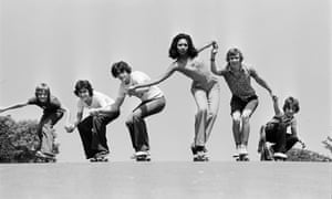 July 1976: dungarees and leisurewear are ideal for the latest fashion – skateboarding.