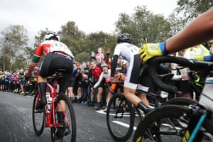 Spectators urge on the riders on Norwood Edge hill climb