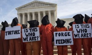 A protest against Guantanamo Bay detentions at the US supreme court in 2017.