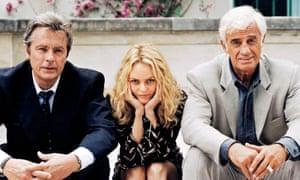 Alain Delon, Vanessa Paradis and Jean-Paul Belmondo in the French crime drama 1 chance sur 2, 1997