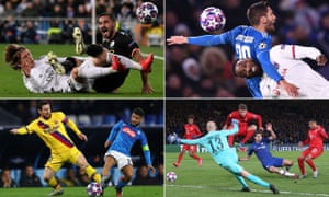 Real Madrid's Luka Modric tackled by Manchester City's Ilkay Gundogan, Juventus' Rodrigo Bentancur (top) challenges Lyon's Moussa Dembele, Lionel Messi of Barcelona wins the ball from Lorenzo Insigne of Napoli, and Serge Gnabry of Bayern Munich scores their first goal against Chelsea.
