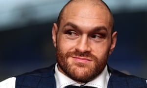 Tyson Fury at a press conference in Bolton after winning the title fight.