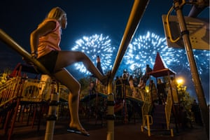 People watch a team from Austria perform at the 2017 Rostec international fireworks festival in Brateevsky Cascade Park