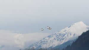 A group of migrating swans pass Mount  Meager, Pemberton Meadows, British Columbia, Canada