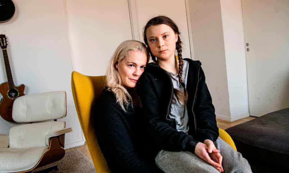 Greta Thunberg with her mother, opera singer Malena Ernman, in Stockholm