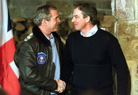 George W Bush and Tony Blair shake hands in 2001