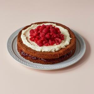Anja Dunk's marzipan and raspberry layer cake.