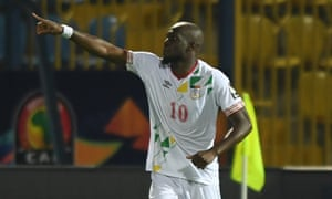 Mickael Pote celebrates after scoring his, and Benin's, second goal of the night.