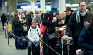 Eurostar passengers queue at St Pancras in London.