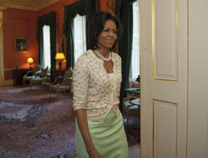 The patron saint of cardigans, Michelle Obama