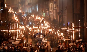 Seventeen burning crosses commemorate the burning of 17 Protestant martyrs in the town's high street in the 16th century