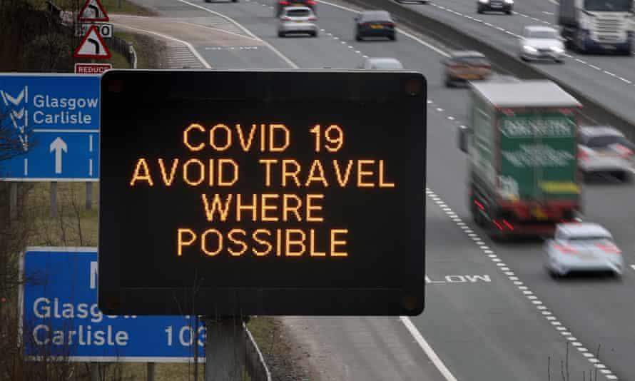 Coronavirus signs on a UK motorway.