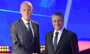 Tunisia's presidential candidates, the academic Kais Saied (left) and the tycoon Nabil Karoui.