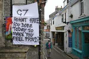 A protest banner on display today in St Ives, Cornwall