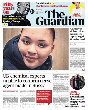Guardian front page, Wednesday 4 April 2018